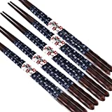LUNA 5 Pairs Japanese Style Restaurant Wooden Chopsticks Sushi Tableware (A8)