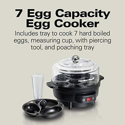 Hamilton Beach Electric Egg Cooker and Poacher for Soft Hard Boiled or Poached with Ready Timer