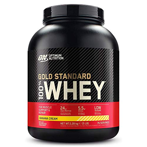 Optimum Nutrition Gold Standard Whey Muscle Building and Recovery Protein Powder With Glutamine and Amino Acids, Banana Cream, 76 Servings, 2.28 kg, Packaging May Vary