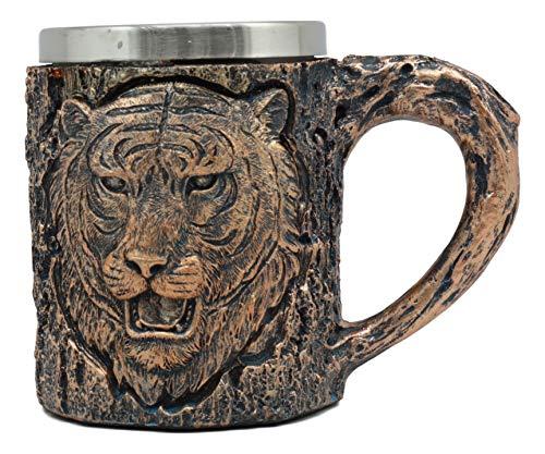 Ebros Animal Totem Spirit Apex Predator Bengal Tiger Mug Textured With Rustic Textured Tree Bark Design In Painted Bronze Finish 12oz Drink Beer Stein Tankard Coffee Cup (Bengal Tiger)