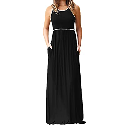 Fanyunhan Women\'s Lace Round Neck Long Dresse Casual Sleeveless Maxi Dresses with Pocket: Clothing [5Bkhe1107167]