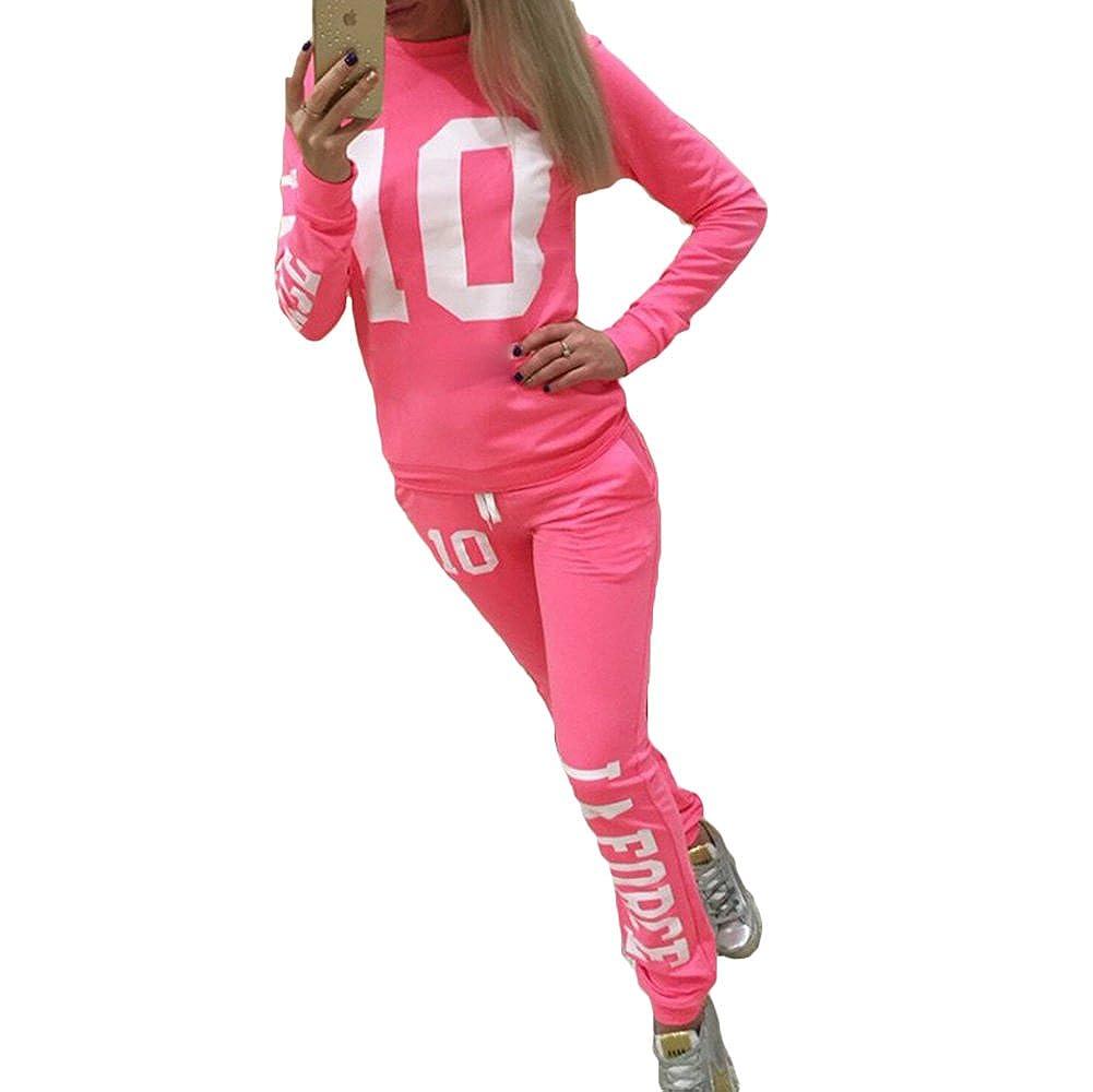 Mujer Chandal Ropa Deportiva Suave y c/ómodo Pantalones Jersey Manga Larga Juego Ropa 2 Piezas Sudadera Pantalones Deportiva Trajes Yoga Fitness