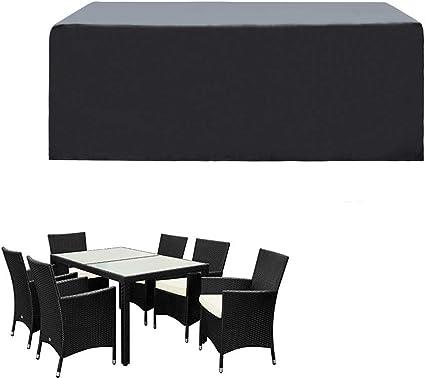 Oferta amazon: SIRUITON Funda de Muebles de Jardín Exterior Mesa de jardín y Silla Cubierta de Protección Impermeable Negro (180x120x74cm)