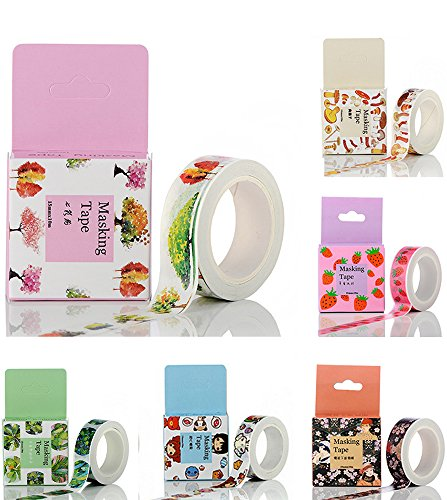 6pcs Masking Tape Colorful Sticky Paper Adhesive Tape Label DIY Scrapbooking Decorative for School Office Birthday Party Dairy Notebook Wrapping, 10 meters