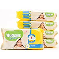 Huggies Unistar, Soft & Natural Absorbent Wipes. Gentle For Delicate Skin, No Alcohol & Hypoallergenic. Perfect for Newborns & Gentle for Makeup Removal (5-Pack)