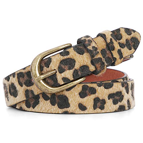 "Leopard Print Leather Belt for Women Plus Size for Jeans Pants Waist Belt (Suit pants size 23""-27"", b-leopard With Fur)"