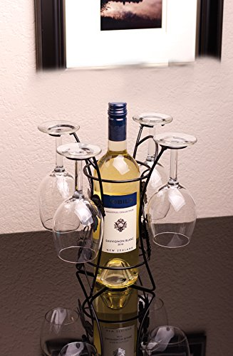 Ideas In Life Wine Bottle And Glass Holder Hold 4 Long Stem Wine Glasses by Ideas In Life