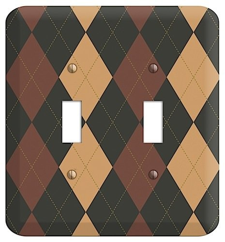 Maroon and Tan Argyle Double Toggle Switchplate