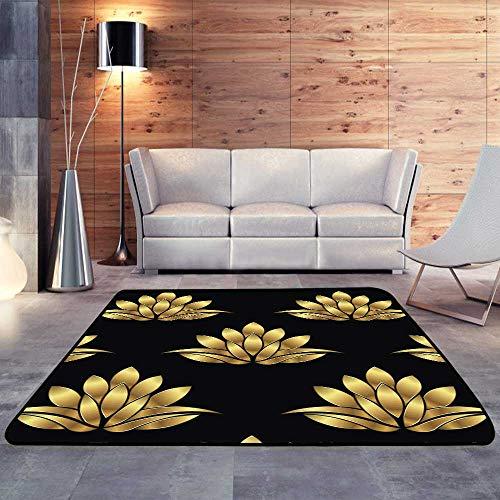 Ivory Lotus Garden Rug - Bath Rugs for Bathroom Non Slip,Golden Lotus Flower W 35