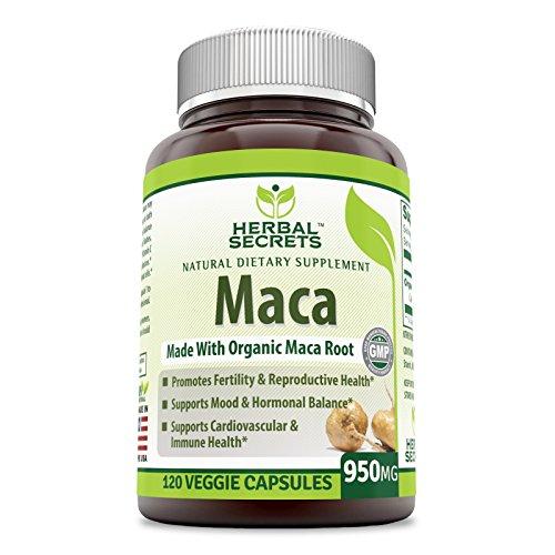 À base de plantes Secrets Bio Maca 950mg 120 VCAPS Gonfle pour une meilleure Biodisponibilité - sans OGM - favorisent la bonne Humeur, l'Équilibre Hormonal, la Santé Cardiovasculaire Et la Santé Immunitaire