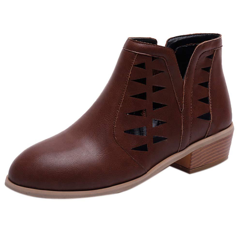 Zapatos planos de mujer casual, Sonnena ❤️ Zapatos de mujer Chunky Low Heels Bota corta de tacón grueso Longitud de tobillo Botines Zapatos huecos