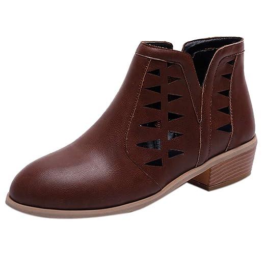 Mujeres Vintage Chunky Tacones Bajos Grueso tacón Botas Cortas Botines Zapatos Huecos LILICAT ✈✈ 2019 Zapatos de tacón Grueso Tacones Gruesos Botas con ...