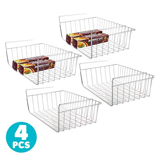 4pcs 15.8 Inch Under Shelf Basket Storage Wire Rack Organizer for Cabinet Thickness Max 1.2 Inch, Extra Storage Space on Kitchen Counter Pantry Desk Bookshelf Cupboard, Anti Rust Stainless Steel Rack
