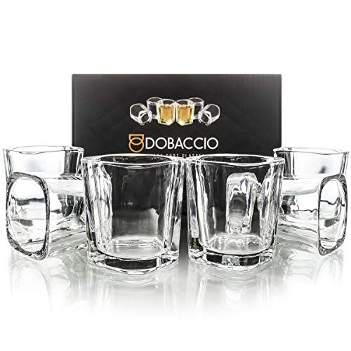 Square Shot Glasses for Whiskey, Brandy, Tequila. Shooting Drinking Glass, 2 oz. Set of 6 ()