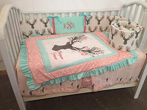 Woodland Large stag buck head 1 to 4 Piece baby girl nursery crib bedding, Personalized,Ruffled Quilt, bumper,bed skirt, crib sheet, floral deer, fawn forest,Mint,Coral,Gray,Pink