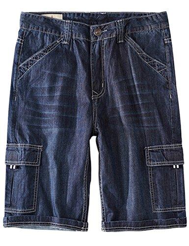 Yeokou Men's Loose Hip Hop Cropped Jeans Work Denim Shorts with Cargo Pockets (32, Style12 Dark Blue)