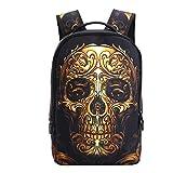 Vivid 3D Printed School Backpack, Sporting Hiking Backpack, School Traval Bag, Laptop Backpack, Gift Present for Unisex Girl Boy Kids Children (Gold Skull)