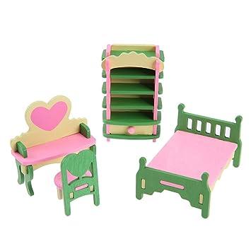 Mini Wooden Furniture Diy Dollshouse Sets Educational Pretend Play Toy(541)