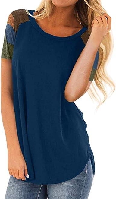 LUNULE VENMO Blusas Mujer Elegante Camisas Casual Verano Camiseta de Manga Corta Color Block Suelta Blusa de túnica Ligera Casual Tops de Fiesta para Mujer: Amazon.es: Ropa y accesorios