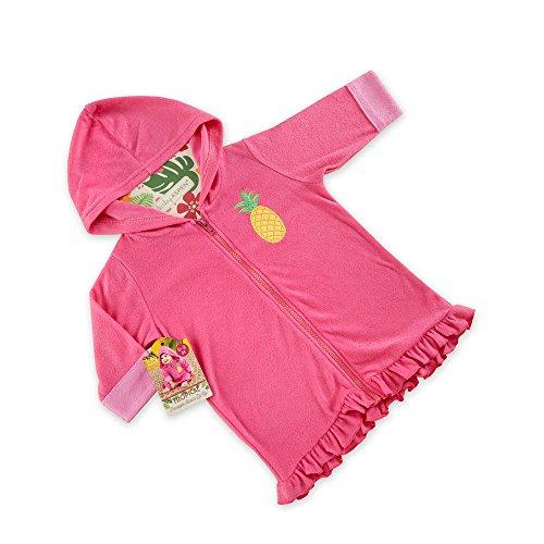 (Baby Aspen Tropical Pineapple Hooded Beach Zip Up, Pink)