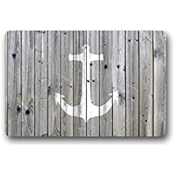 "Goodbath Funny Bath Mat Rugs - Vintage Wood and Nautical Anchor Non-Slip Rectangle Floor Entryways Outdoor Indoor Front Door Mat Carpet - 15.7""x23.6"" (Grey and White)"