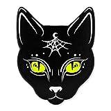 PinMart Black Cat w/Moon and Spider Web Halloween Enamel Lapel Pin