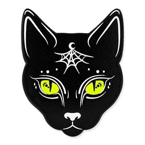 PinMart's Black Cat w/Moon and Spider Web Halloween Enamel Lapel Pin