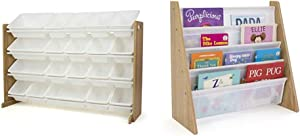 Humble Crew Toy Organizer with 20 Storage Bins, Natural/White & Natural/White Kids Book Rack Storage Bookshelf with Deep Sleeves, Universal