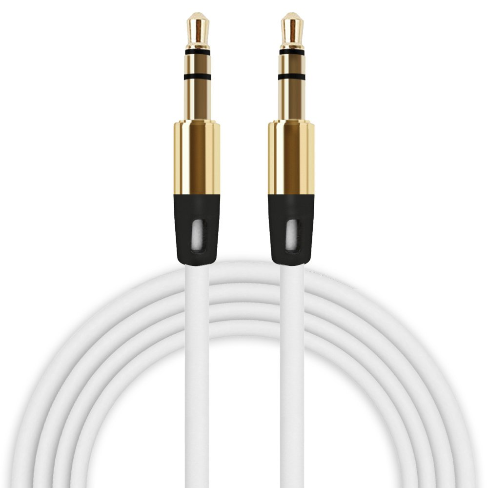 3.5mm Audio Cable Buedvo Auxiliary Male To Male Flat Aux Cable 1M (White)