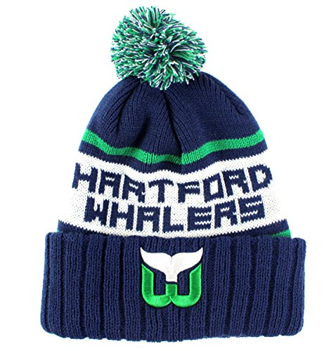 Hartford Whalers Nhl (Hartford Whalers NHL American Needle Pillow Line Cuffed Pom Knit Hat Beanie)