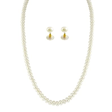 662b012a46548 Sri Jagdamba Pearls Single Line White Pearl Set for Women