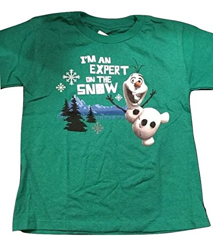 Disney's Frozen Olaf Pre-school Boys, Tee Shirt Green, I'm an Expert on the Snow.