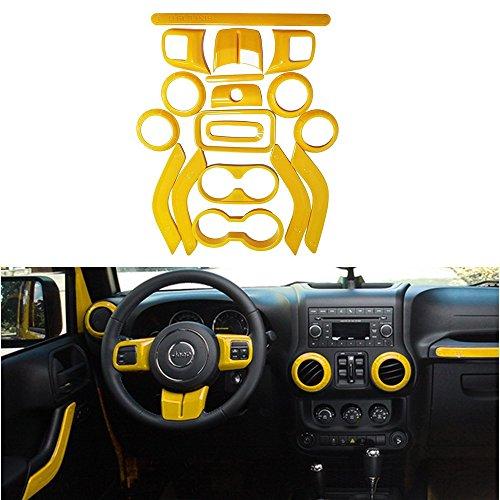Opall 18PCS Full Set Interior Decoration Trim Kit Steering Wheel& Center Console Air Outlet Trim, Door Handle Cover Inner For Jeep Wrangler JK JKU 2011-2018 2 Door & 4 Door (Yellow) (Jeep Keychain Yellow)