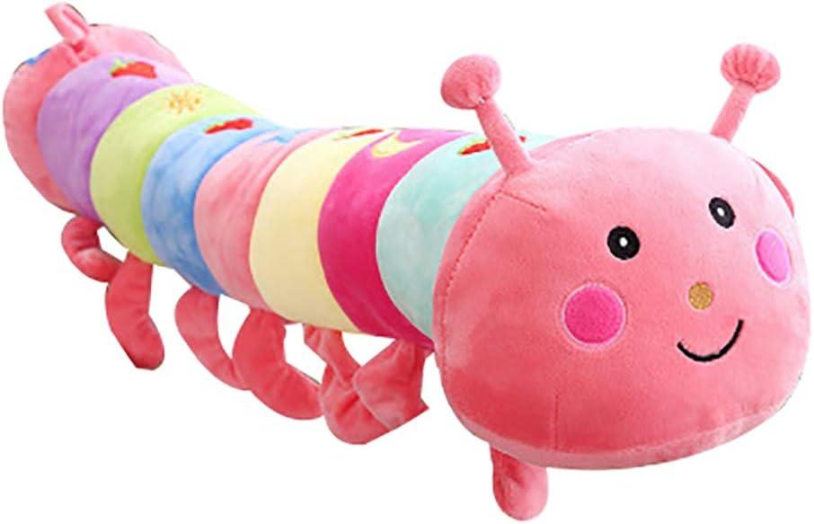 Yamalans Cartoon Multicolor Caterpillar Plush Stuffed Toy Waist Throw Pillowcase Cover Cushion Pillow Case for Living Room Sofa Bedroom Car Cafe Decor Pink