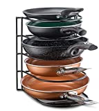 Pan Organizer Rack - Kitchen Closet Storage for Pots, Pans and Lids - Holds Up to 8 Items - Easy Screw or Adhesive Installation - by Bovado USA