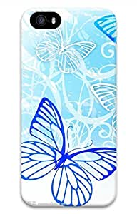 Brian114 iPhone 5S Case - Blue Butterfly Silhouette Back Case Cover for iPhone 5 5S Hard 3D Cases
