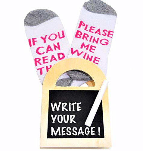 Luxury combed cotton 'If you can read this bring me wine' socks in a real wood customizable chalkboard message gift box! Perfect funny,Christmas, birthday or secret santa gift set idea - Christmas Secret Santa