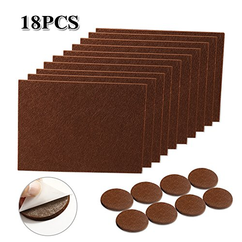 Felt Furniture Pads, IdealHouse No Scratch Furniture Protector Pads on Hardwood Floors Large Floor Furniture Protector Sliders Square Felt Chair Sliders 18 Pieces