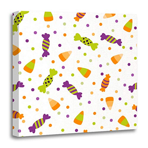Emvency Canvas Wall Art Print Black Border of Halloween Trick Treat Candies Bright and Sweets in The Traditional Colors Colorful Cute Artwork for Home Decor 16 x 16 Inches]()