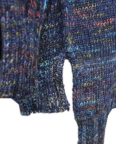 WanYang Mujeres Larga Suéter Tejido Pullóver Cuello Alto Manga Larga Jerseys Pullover Prendas De Punto Bodycon Vestido De Suéter Armada Multicolor