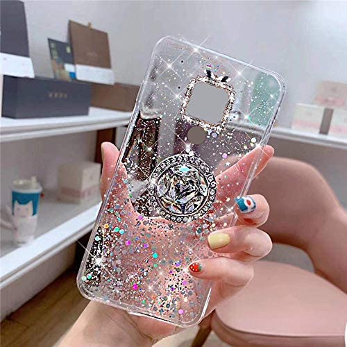 Uposao Kompatibel mit Huawei Mate 20 Hülle Glitzer Mädchen Frauen Diamant Glänzend Strass Bling Schutzhülle Silikon Clear Durchsichtige Hülle Weich TPU Tasche mit Ring Ständer,Klar