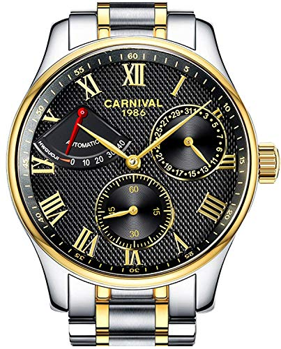 - Mens Power Reserve Display Automatic Mechanical Watches Full Stainless Steel Waterproof Swiss Watches (Gold Black)