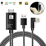 Lightning to HDMI adapter cable for iPhone iPad mirroring to TV Projector Monitor Digital Av adapter for iphone X 8 7 6S 6 5 5S SE ipad air mini pro 6.5ft cord Connector,Plug and Play