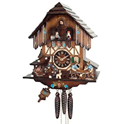 River City Clocks One Day Musical Cuckoo Clock with Men Sawing Wood, Waterwheel and Dancers