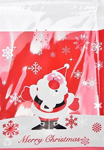 25 Stk Cellophan Beutel Weihnachtsmann Zwinkernd 10x10cm Selbstklebender Verschluß Für Kekse Kleine Geschenke Usw Zellophan Beutel Tüte Weihnachten Bürobedarf Schreibwaren