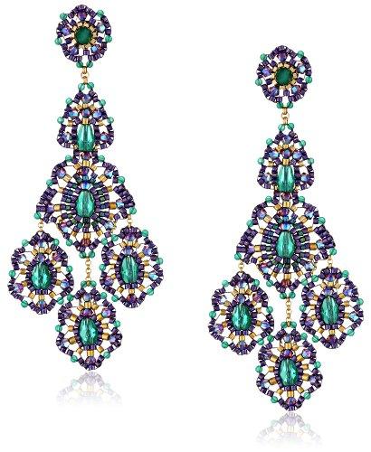 Miguel Ases Green Onyx 14k Gold Filled Triple Drop Earrings