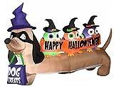 """Gemmy Airblown Inflatable Halloween """"Halloweiner"""" Weiner Dog with Owls Yard Decor 6.5 Wide"""