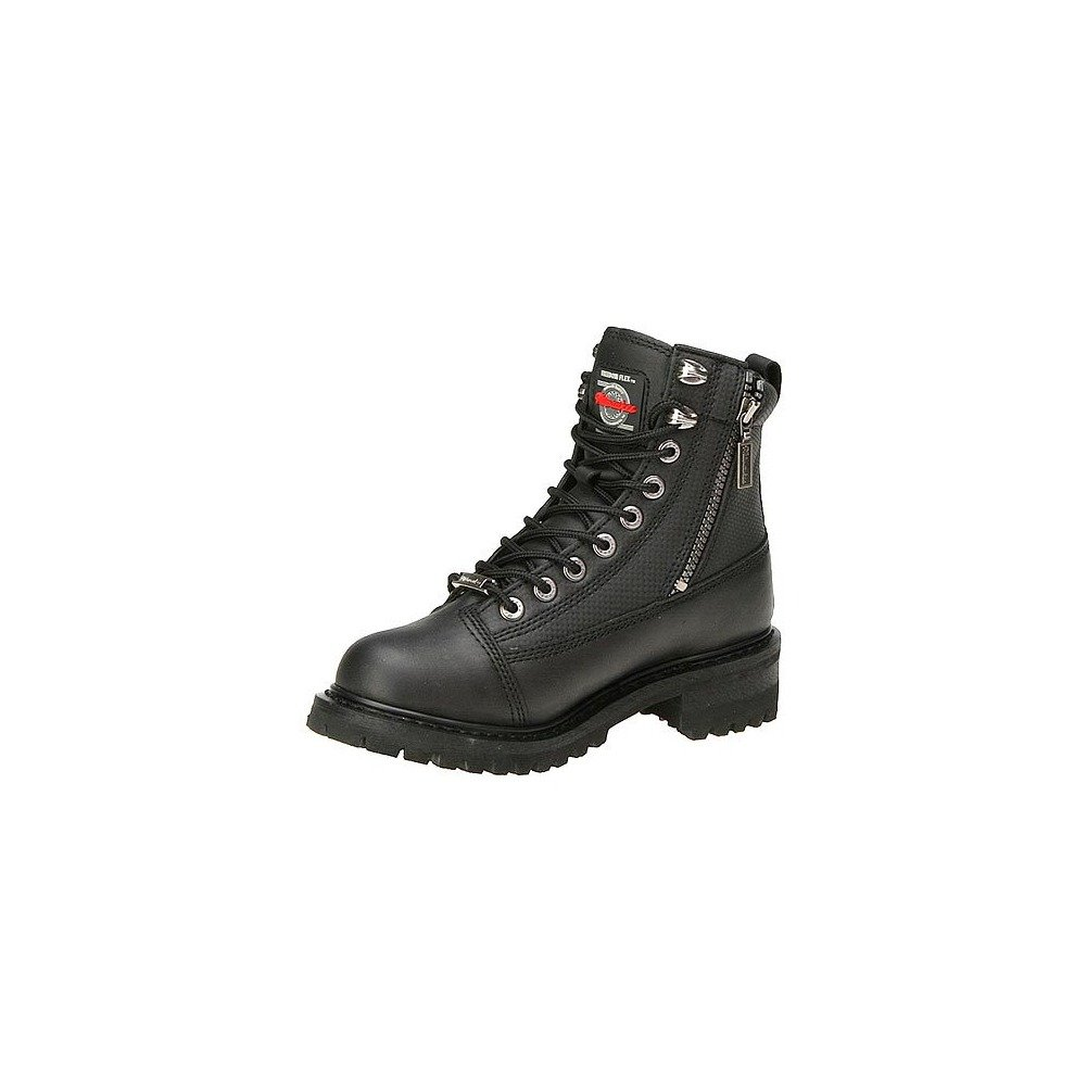 Black, Size 8C Milwaukee Motorcycle Clothing Company Accelerator Leather Womens Motorcycle Boots