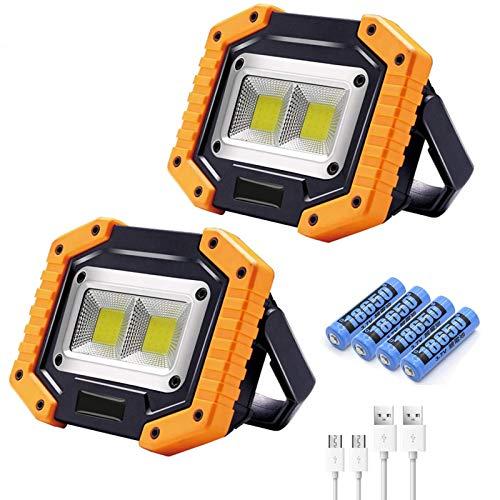 WOERD 30W LED Baustrahler, 2 Pack Arbeitsstrahler USB Wiederaufladbare Strahler mit Akku IP65 Wasserdicht…