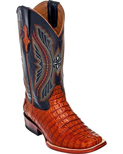 Ferrini Men's Caiman Tail Exotic Cowboy Boot Wide Square Toe Cognac 10.5 D(M) US - Mens Caiman Tail